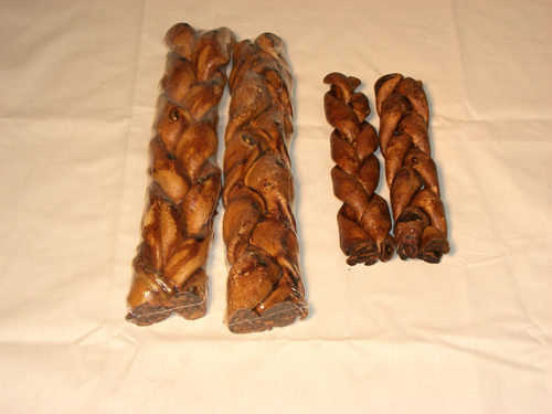 All Natural Peanut Butter Basted Rawhide braids